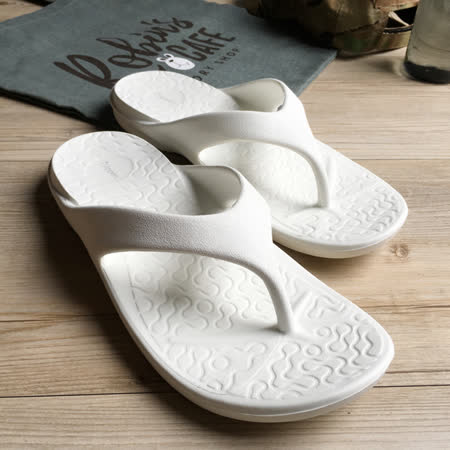 iSlippers 動能系列-Q軟厚底一體成型人字拖鞋-白 (女款)