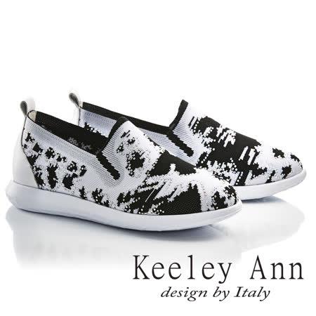 Keeley Ann舒適百搭-水墨風格水鑽真皮軟墊內增高懶人休閒鞋(黑色726507110-Ann系列)