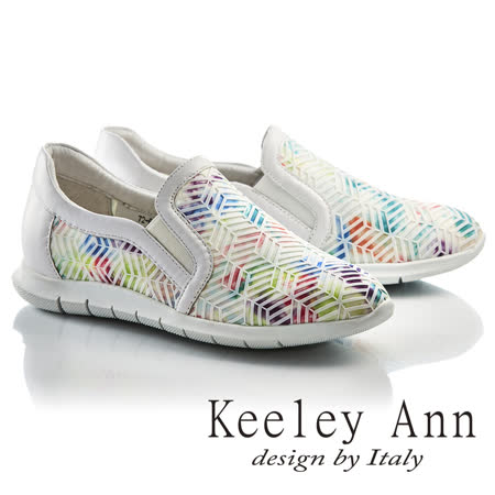 Keeley Ann個性玩酷-科技感炫彩蜂巢真皮內增高休閒鞋(白色726567240-Ann系列)