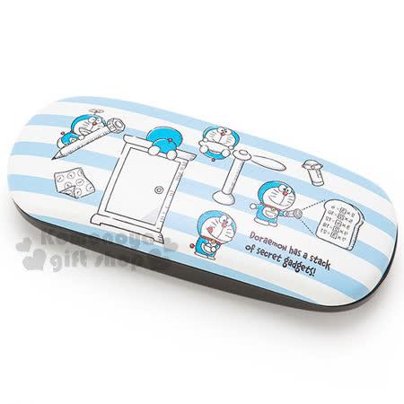 〔小禮堂〕哆啦A夢 皮質硬殼眼鏡盒《藍白.多動作》附眼鏡布.I'm DORAEMON系列
