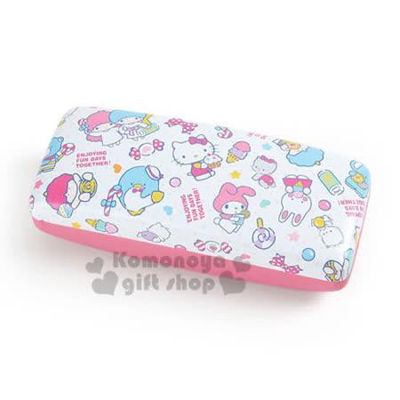 〔小禮堂〕Sanrio大集合 皮質硬殼眼鏡盒《白粉.糖果.冰淇淋》附同款眼鏡布