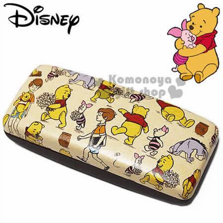 〔小禮堂〕迪士尼 小熊維尼 皮質硬殼眼鏡盒《棕.維尼小豬滿版》附同款眼鏡布