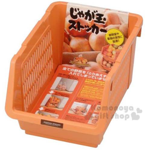 〔小禮堂〕 INOMATA 可疊放附滑輪蔬果收納籃~橘.深長方~耐重10kg