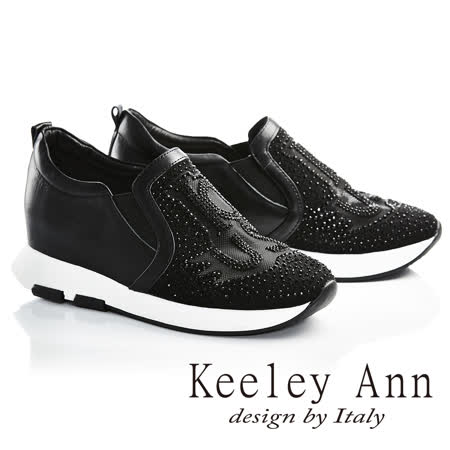 Keeley Ann個性玩酷-水鑽字母造型網狀透膚全真皮內增高休閒鞋(黑色726777110-Ann系列)