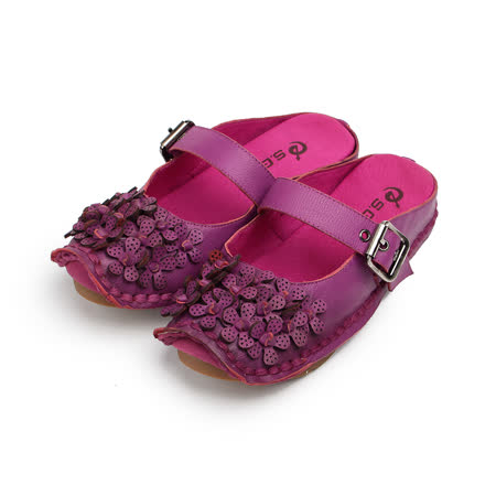 (女) S.G.R 真皮雷射雕花後空女鞋 紫 女鞋 鞋全家福