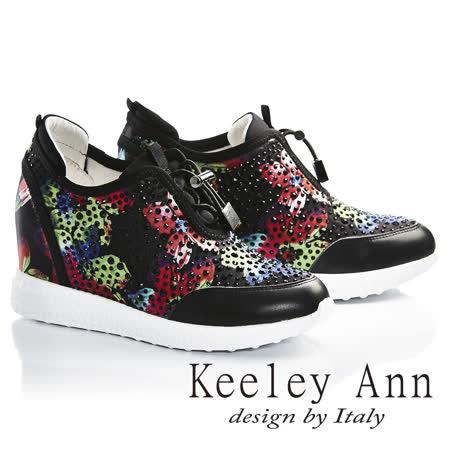 Keeley Ann閃耀迷人-彩漾花朵水鑽全真皮內增高休閒鞋(黑色726822310-Ann系列)