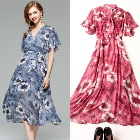 【M2M】V領花朵印花繫帶蝴蝶結短袖洋裝(共二色)