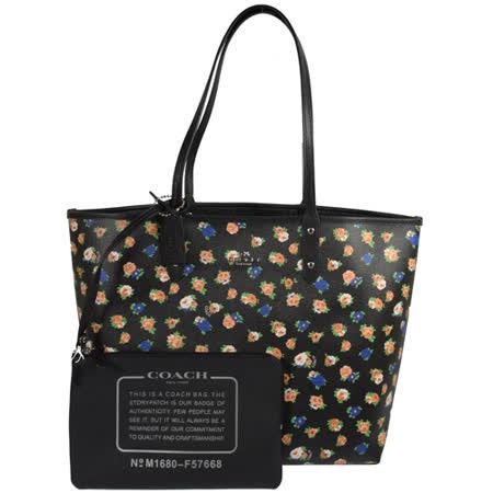 COACH 馬車LOGO防刮花朵圖案雙面大購物托特包.黑 F57668