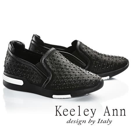 Keeley Ann閃耀時刻-水鑽小花朵全真皮平底休閒鞋(黑色726592210-Ann系列)
