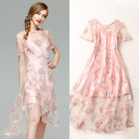 【M2M】網紗透視重工刺繡不規則短袖洋裝