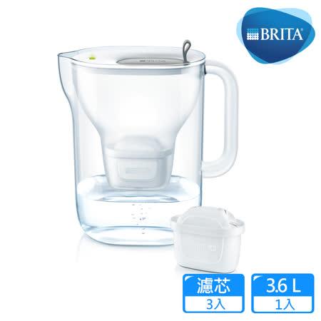 【德國BRITA】Style 3.6L純淨濾水壺+2入MAXTRA Plus濾芯_灰色(共3芯)