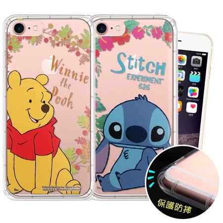 迪士尼授權正版 iPhone 6/ 6s Plus 5.5吋 花系列 空壓安全保護套 維尼 史迪奇