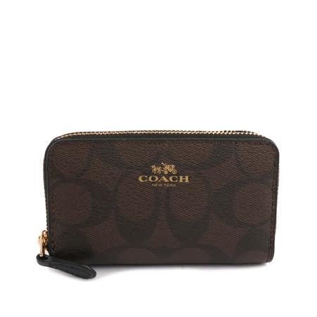 【COACH】PVC LOGO雙拉鏈手風琴式零錢包(巧克力色)