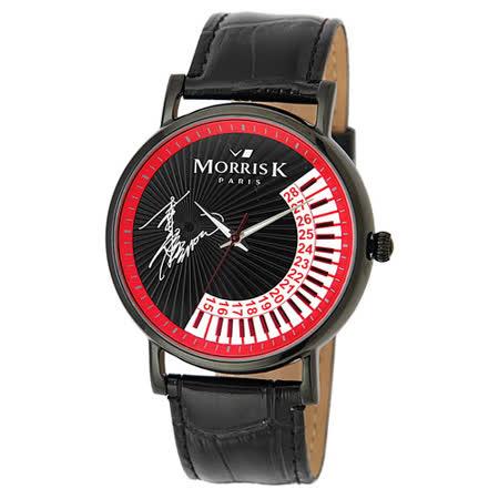 MORRIS K 幸福鋼琴手簽名限量錶(魅力紅/黑皮)_MK10315-AB03