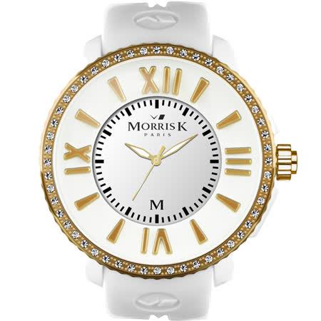 MORRIS K「獨一無二」晶鑽限量錶(小/白/金框) MK11185-DM104