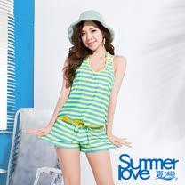 【夏之戀SUMMERLOVE】亮麗條紋連身褲三件式泳衣(E15797)