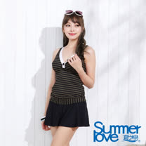【SUMMERLOVE夏之戀】顯瘦條紋長版二件式泳衣(E12792)