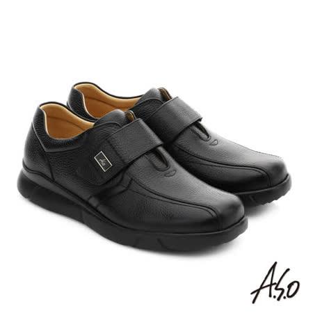 A.S.O 厚切氣墊 全牛皮超輕彈力氣墊休閒皮鞋(黑)