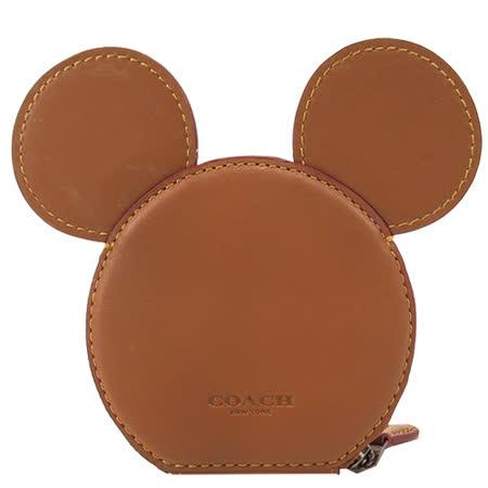 COACH 限量 米奇聯名款大耳朵零錢包(棕)F59071