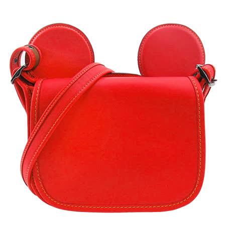 COACH 限量 米奇聯名款大耳朵斜背包(紅)F59369