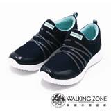 【WALKING ZONE】直套式透氣運動鞋 女鞋-藍(另有黑)