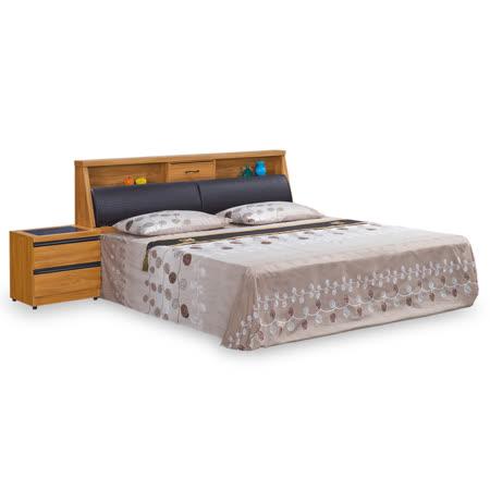 HAPPYHOME 艾莉亞柚木6尺加大雙人床-不含床頭櫃-床墊 MT7-109-2+FF085-12免運費