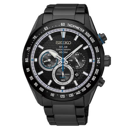 SEIKO 精工 SOLAR 太陽能時刻繞行三眼計時腕錶/42mm/V175-0EE0SD