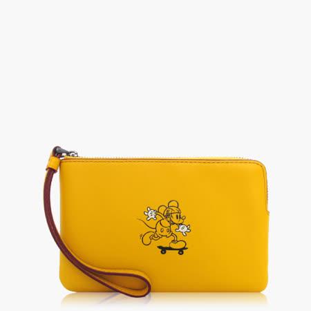 COACH 攜帶便利 皮革 / 零錢收納 / 手拿包(米奇限定款)_黃色 59528