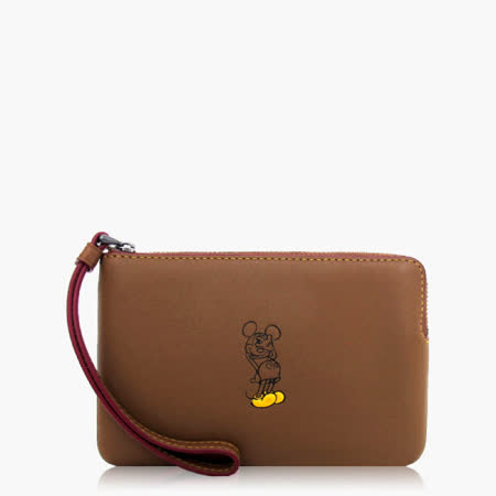 COACH 攜帶便利 皮革 / 零錢收納 / 手拿包(米奇限定款)_咖啡 59528