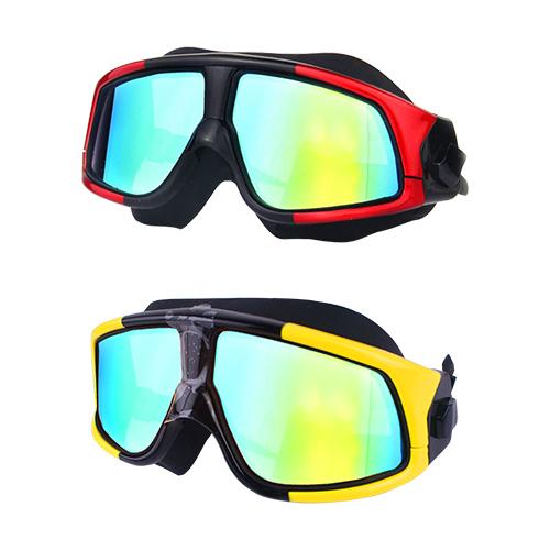 電鍍平光超大鏡框防水防霧成人泳鏡2入 YY~6621