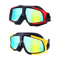 電鍍平光超大鏡框防水防霧成人泳鏡/2入(YY-6621)