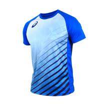 (男) ASICS 排球短袖T恤-短T T恤 慢跑 路跑 亞瑟士 藍
