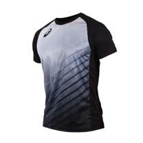 (男) ASICS 排球短袖T恤-短T T恤 慢跑 路跑 亞瑟士 黑灰