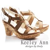 Keeley Ann經典美型~復古交叉真皮仿木質粗高跟涼鞋(棕色732188125)