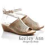 Keeley Ann年代風華~復古時尚穆勒鏤空腳踝綁帶全真皮楔形涼鞋(卡其色732318126)