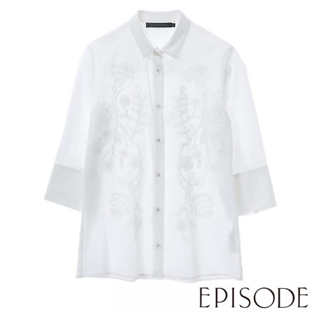 EPISODE-花朵刺繡七分袖襯衫(純淨白)