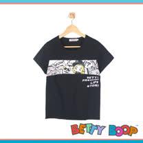【Betty Boop貝蒂】橫圖拼接棉質T恤(共二色)