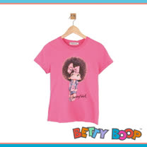 【Betty Boop貝蒂】燙鑽爆炸頭女孩涼感紗T恤(共二色)