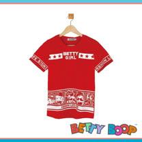 【Betty Boop貝蒂】燙鑽字母印圖涼感紗T恤(共二色)