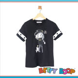 【Betty Boop貝蒂】配色袖印圖棉質T恤(共二色)