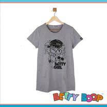 【Betty Boop貝蒂】亮粉水鑽棉質長版T恤(共二色)