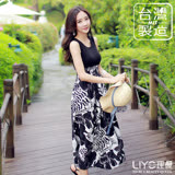 LIYO理優洋裝MIT假兩件式印花連衣裙626003