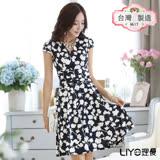 LIYO理優洋裝MIT優雅深V領印花洋裝626025