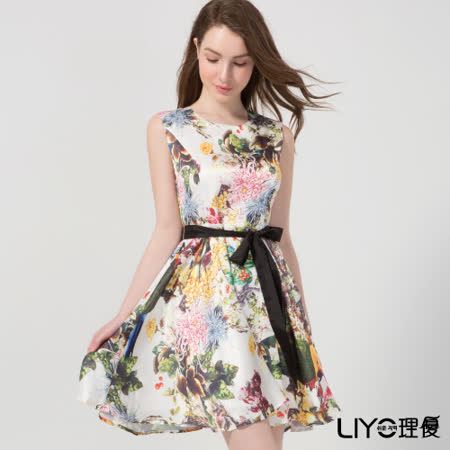 LIYO理優洋裝印花雪紡無袖洋裝