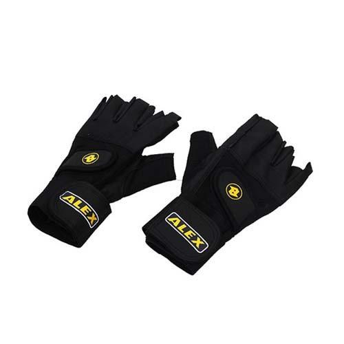 ALEX 皮革手套~健身 重量訓練 半指手套  黑