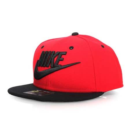 NIKE 運動帽-防曬 帽子 電繡 鴨舌帽 紅黑 F