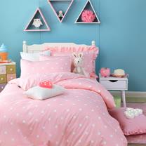 OLIVIA 《 甜美水玉普普 粉 》 加大雙人床包被套四件組 日雜甜美系列 精梳純棉 MIT