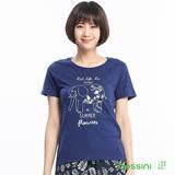 bossini女裝-印花短袖T恤78海軍藍
