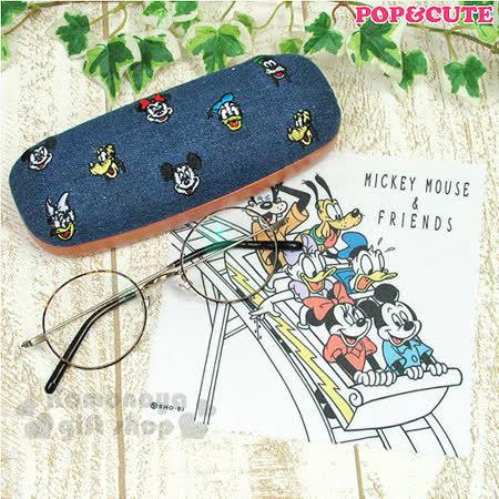 〔小禮堂〕迪士尼 牛仔布硬殼眼鏡盒《藍.大臉.滿版》附眼鏡布.刺繡人物系列