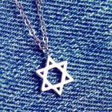 【米蘭精品】925純銀項鍊吊墜流行飾品-六芒星造型情人節生日禮物73y1